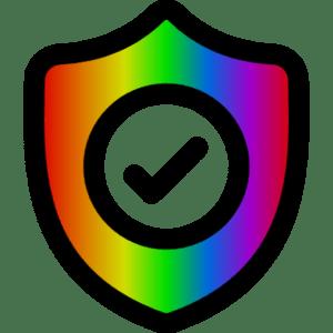 Bouclier vérification arc-en-ciel - check sécurité couleurs drapeau LGBT