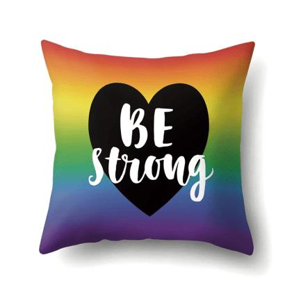 Housse de coussin arc-en-ciel LGBT coeur noir Be strong