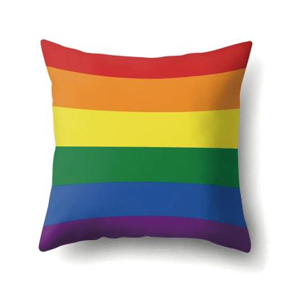 Housse de coussin bandes arc-en-ciel Drapeau LGBT
