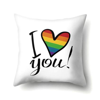 Housse coussin blanche LGBT I coeur arc-en-ciel love you !
