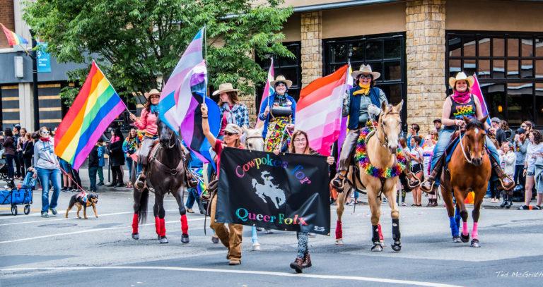 Photo cowgirls queer folx drapeaux LGBT lesbienne genderfluid arc-en-ciel transgenre