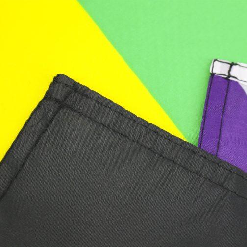 Drapeau allié hétérosexuel / Straight ally de 90x150 cm en polyester. Focus coutures angles coins