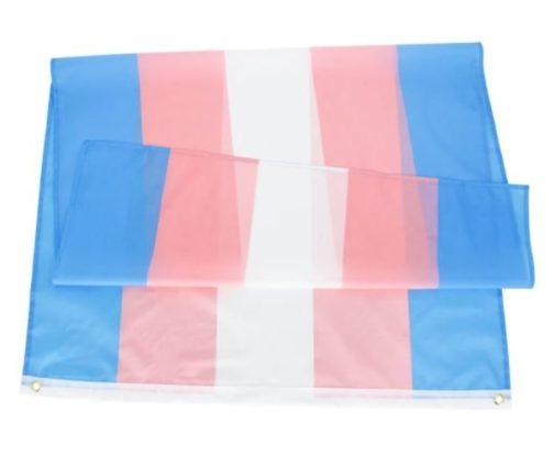 Drapeau Trans Transgenre Transexuel de 90x150 cm en polyester plié.
