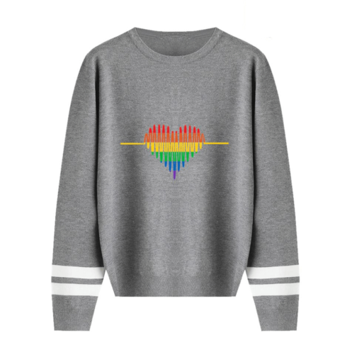 Pull LGBT manches longues gris motif coeur cardiogramme