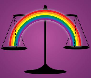 Balance de justice pesant un arc-en-ciel