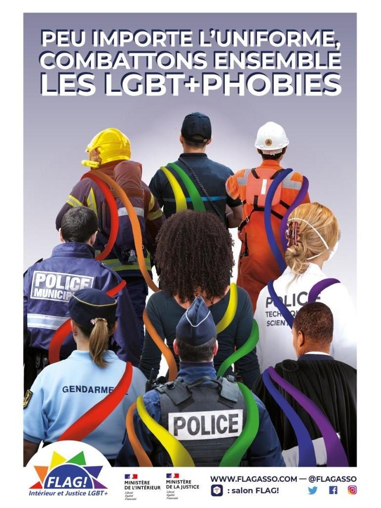 Cmpagne Ministère Intérieur Justice uniforme combattre LGBTphobies