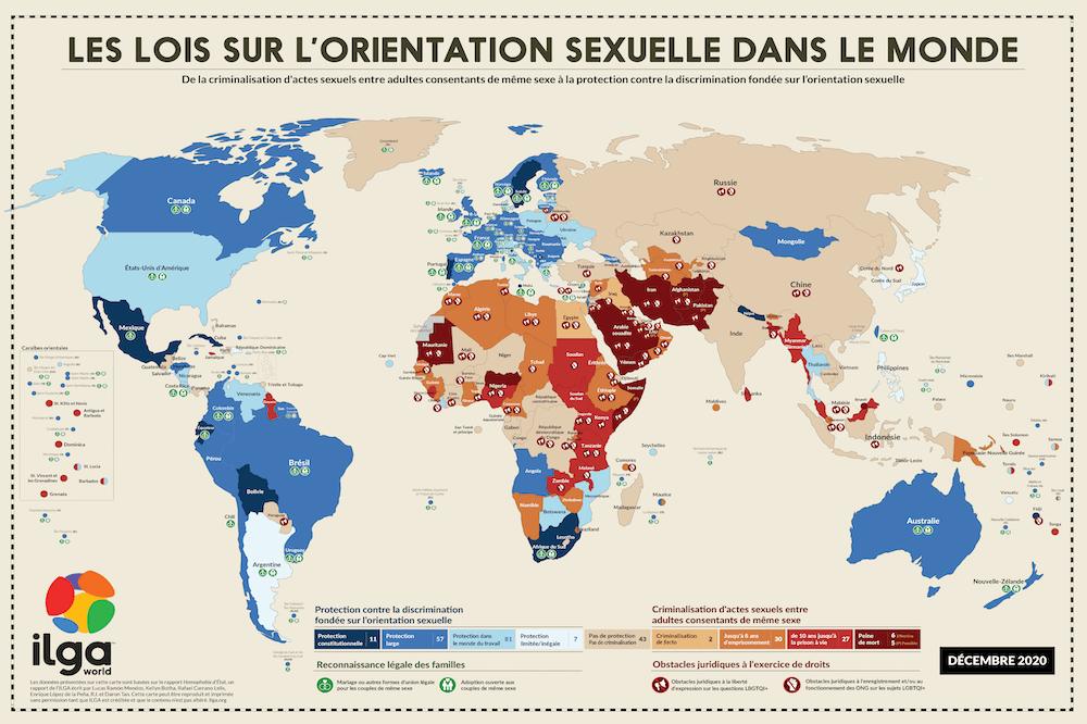 Carte map monde Lois orientation sexuelle situation décembre 2020