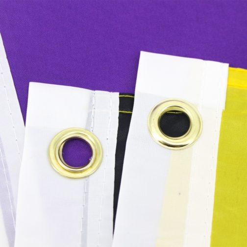 Drapeau non-binaire officiel 90x150cm focus oeillets métalliques