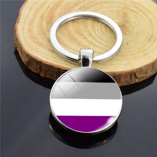 Porte-clés drapeau asexuel