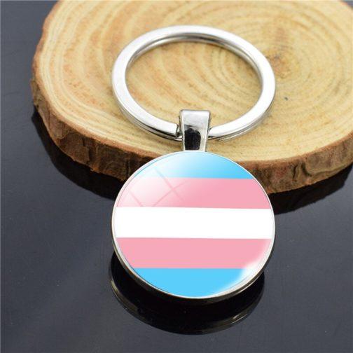 Porte-clés drapeau trans