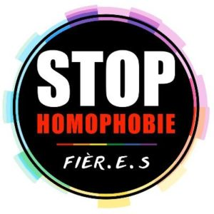 Logo STOP Homophobie fièr-e-s arc-en-ciel