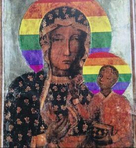 Tableau vierge Marie auréole arc-en-ciel