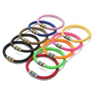 10 bracelets multicolores cuir fermoirs argentés dorés 6 bandes arc-en-ciel drapeau LGBT