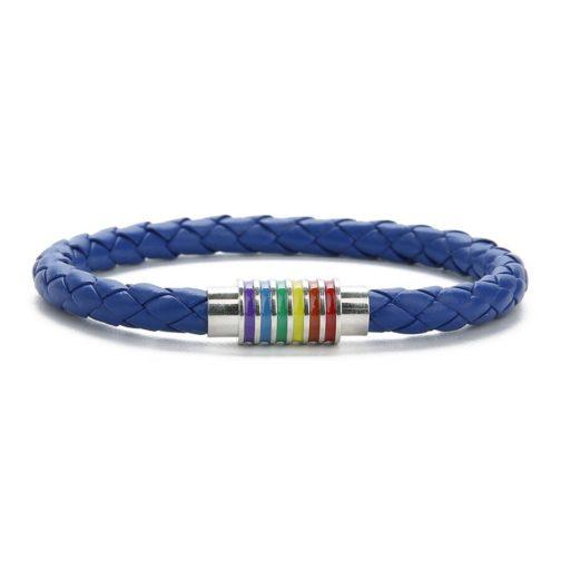 Bracelet bleu cuir fermoir argenté 6 bandes arc-en-ciel drapeau LGBT