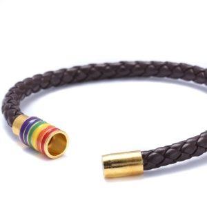 Bracelet marron métallique cuir fermoir doré 6 bandes arc-en-ciel drapeau LGBT fermoir métallique aimanté