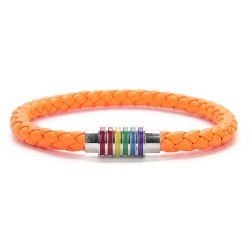 Bracelet orange cuir fermoir argenté 6 bandes arc-en-ciel drapeau LGBT