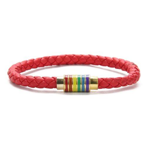 Bracelet rouge cuir fermoir doré 6 bandes arc-en-ciel drapeau LGBT