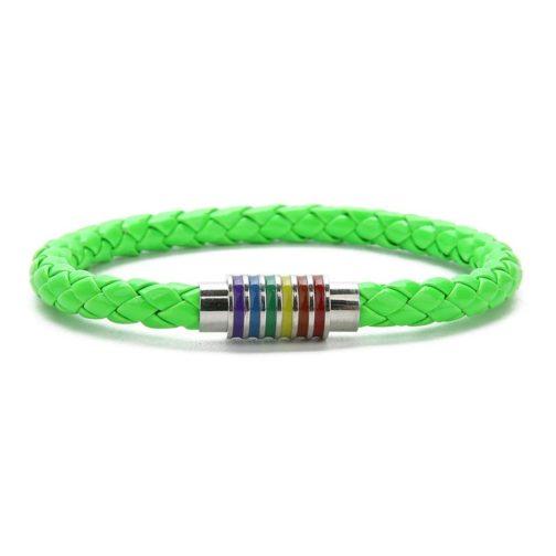 Bracelet vert cuir fermoir argenté 6 bandes arc-en-ciel drapeau LGBT
