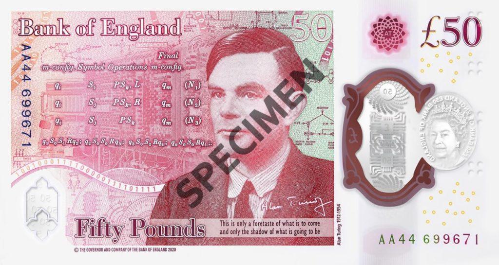 Nouveau billet 50 livres Alan Turing Bank of England Specimen