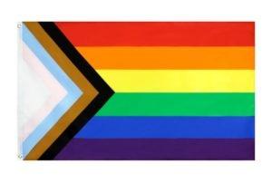 Progress Pride Flag Drapeau arc-en-ciel Europride 2019 Daniel Quasar Polyester 90x150 cm