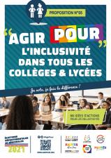 Affiche Agirpour inclusivité dans tous collèges lycées élections départementales régionales 2021