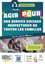 Affiche Agirpour services sociaux respectueux toutes familles elections departementales regionales 2021