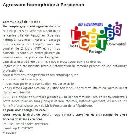 Agression homophobe Perpignan communiqué presse association LGBT66