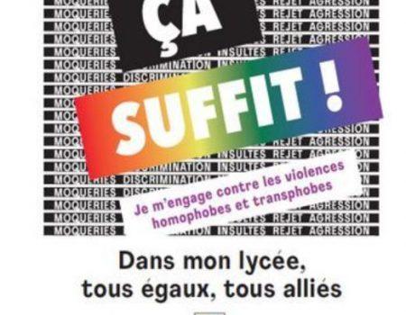 Ca suffit ! Affiche campagne Ministère Éducation Nationale contre violences homophobes transphobes