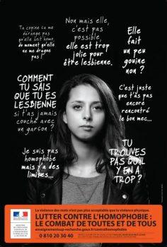 Campagne Lutter contre homophobie : combat toutes tous Ministère enseignement supérieur recherche innovation affiche 4
