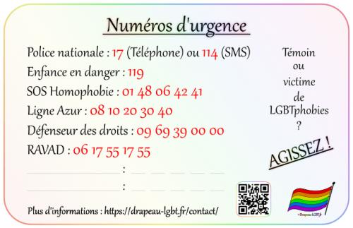 Drapeau-LGBT.fr carte numéros urgence personnes LGBTQI+ victimes témoins LGBTphobies