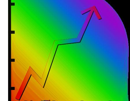 Graphique arc-en-ciel flèche LGBT croissante