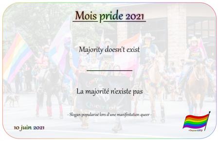 Drapeau-lgbt.fr Mois Pride 2021 Campagne slogans 10 juin majority doesnt exist