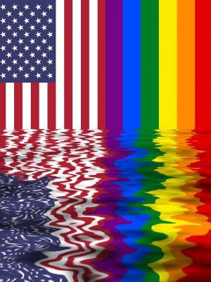 Drapeau américain et drapeau LGBT arc-en-ciel reflet eau