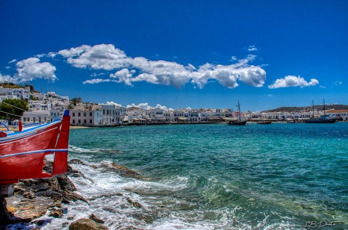 Mykonos île grècque village long côtes