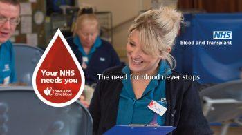NHS don du sang ouvert personnes LGBTQI+ au Royaume-Uni - Affiche campagne Your NHS needs you