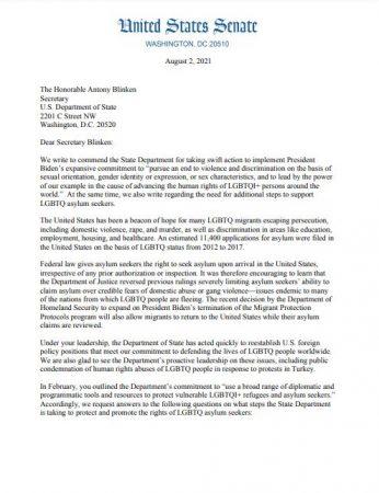 United States Senate - Lettre 14 sénateurs sénatrices adressée Antony Blinken droits migrants LGBTQI+